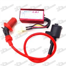 Red Racing Ignition Coil + 6 Pin Wires AC CDI Box For Chinese GY6 50cc 125cc 150cc Engine ATV Quad Go Kart Moped Scooter