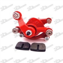 Red Rear Disc Brake Caliper + Brake Pad Shoes For 2 Stroke 43cc 47cc 49cc Minimoto Mini Gas Electric Go Kart ATV Quad 4 Wheeler Goped Scooter