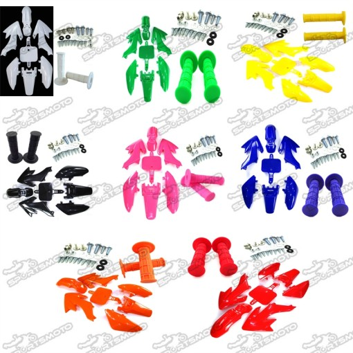Plastic Fairing Fender Kits + Handle Grips + Screws For Honda CRF50 XR50 Pit Dirt Bike