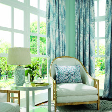Leaves Print Curtain Pinch Pleated Blackout Lining Window Darpes