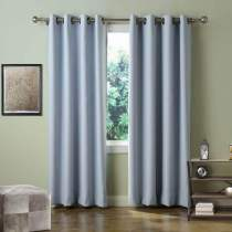 Set of 2 Antique Bronze Grommet Thermal Insulated Blackout Curtains Drapes