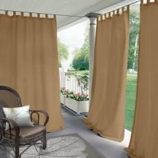 Tab Top Blackout Outdoor Curtain For Front Porch, Pergola, Cabana, Covered Patio, Gazebo, Dock, and Beach Home (1 Panel).