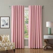 Set of 2 Back Tab or Rod Pocket Thermal Insulated Blackout Curtain Drapes