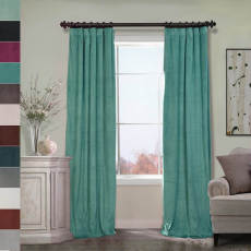 Flat Hook Velvet Curtain Drape with Blackout Lining For Track with Ring Clip or Traverse Rod and Rod with Rings