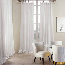 Cotton Linen Curtain Drapery Flat hook for Track, Lined Curtains