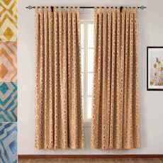 Tab Top Rhomboid Jacquard Dust Proof Curtain, Two-Toned Damask Diamond, (1 Panel ) Nina Collection