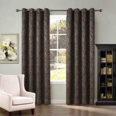 Bubble Stone Jacquard Blackout Lined Curtain Panel Drape Antique Bronze Grommet  (1 Panel)