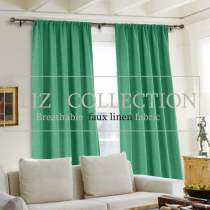 Rod Pocket Faux Linen Window Curtain with Blackout Lined