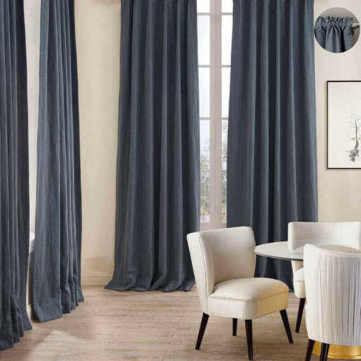 Cotton Linen Curtain Drapery 3 Inches Rod Pocket Lined Curtain 9 Colors