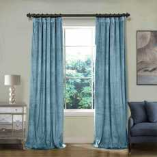 CUSTOM Birkin Sky Blue Velvet Curtain Drapery With Lining For Traverse Rod Pole or Track