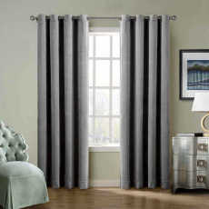 CUSTOM Birkin Grey Velvet Curtain Drapery With Lining For Traverse Rod Pole or Track