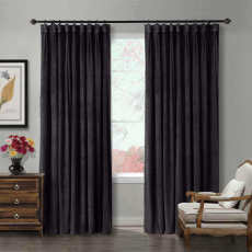 CUSTOM Birkin Warm Black Velvet Curtain Drapery With Lining For Traverse Rod Pole or Track