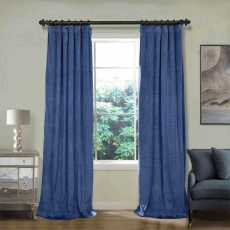 CUSTOM Birkin Ultramarine Blue Velvet Curtain Drapery With Lining For Traverse Rod Pole or Track