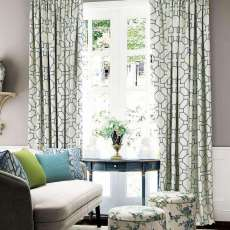 Geo Print Tab Top Curtains With Blackout Lining