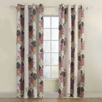 Nickel Grommet Polyester Cotton Blend Flower Printed Blackout Lined Curtain Drapes