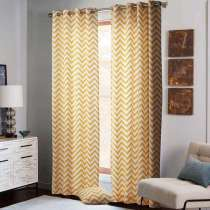 Chevron Insulated Blackout Lining Back Cotton Grommet Panel Curtain Drapery Sofitel