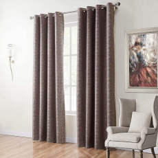 SANDOR Woodgrain Classic Polyester Jacquard Grommet Diamond Soft Panel Curtain Drapes (1 Panel)