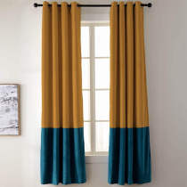 2 Toned Blackout Lined Pieced Patchwork Grommet Velvet Curtain