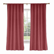 CUSTOM Liz Red Wine Polyester Linen Curtain Drapery with Lined