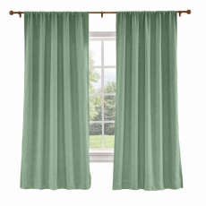 CUSTOM Liz Pale Turquoise Polyester Linen Curtain Drapery with Lined