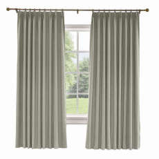 CUSTOM Liz Light Gray Polyester Linen Curtain Drapery with Lined