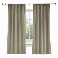 CUSTOM Liz Dim Gray Polyester Linen Curtain Drapery with Lined