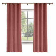 CUSTOM Liz Maroon Polyester Linen Curtain Drapery with Lined