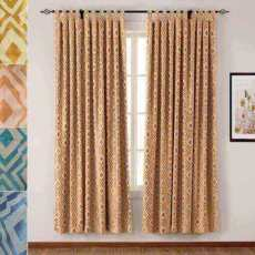 Tab Top Rhomboid Jacquard Dust Proof Curtain Two-Toned Damask Diamond with Blackout Lined