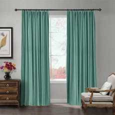 Blackout Lined Velvet Curtain Drapery Panel For Traverse Rod or Track
