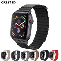 CRESTED Leather Loop strap For apple watch band 4 42mm 38mm 3 iWatch band 44mm 40mm correa bracelet wrist watch Accessories 2/1