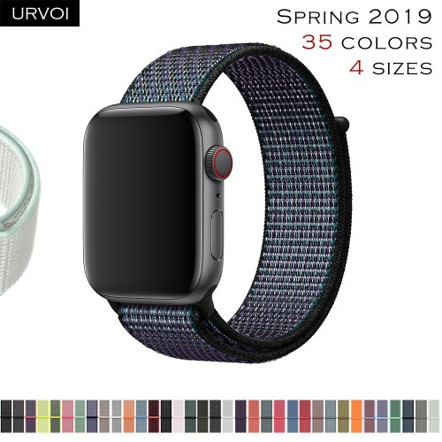 URVOI Sport loop for apple watch band series 4 3 2 1 reflective strap for iwatch double-layer breathable woven nylon Spring 2019