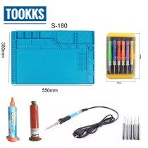 55x35cm Heat Insulation Silicone Pad Desk Mat Maintenance Platform + Screwdriver Set + 60W soldering iron Set + 2 UV Glue