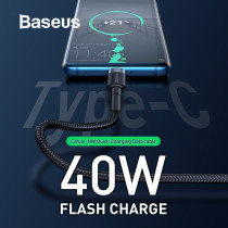 Baseus 40W Flash Charge USB Type C Cable 5A Quick Charge for Huawei P30 Mate20 Pro Compatible 2A Fast Charging for USB-C Phone