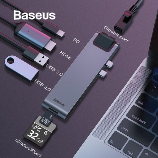 Baseus Dual Type-C 7in1 USB 3.0 Type C HUB HDMI RJ45 Adapter for MacBook Pro OTG HUB USB Splitter 3.0 PC Computer Accessory