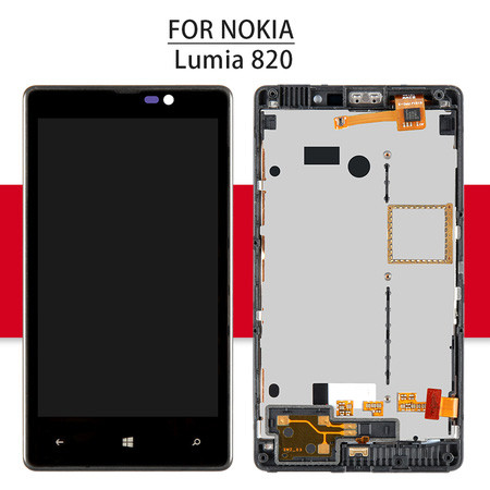 Srjtek 4.3  LCD For Nokia Lumia 820 Display Touch Screen With Frame For Nokia 820 N820 Digitizer Glass Sensor Assembly 800*480