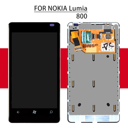 Srjtek LCD For Nokia Lumia 800 Display Touch Screen With Frame For Nokia Lumia 800 Digitizer Assembly Replacement Parts