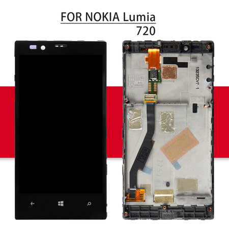 Srjtek LCD For Nokia Lumia 720 Display Touch Screen With Frame For Nokia Lumia 720 Digitizer Assembly For Lumia N720 Screen