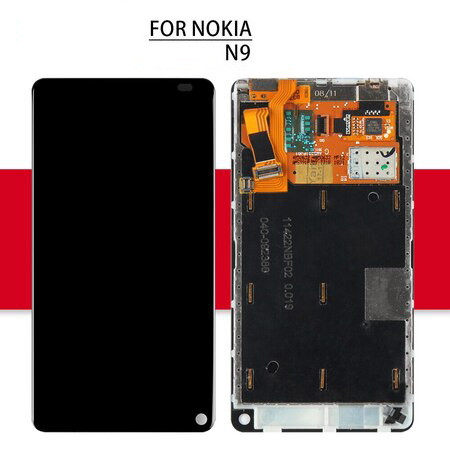 Srjtek Screen For NOKIA N9 LCD Display Touch Screen With Frame For Nokia N9 Digitizer Glass Assembly Replacement Parts 854*480