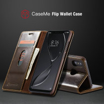 CaseMe Magnetic Wallet Phone Case For Xiaomi Mi8 Luxury R64 Leather Flip Case For Redmi 6 6A Note 6 Pro Credit Card Stand Covers