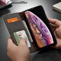 CaseMe Wallet Leather Case For iPhone Xs Luxury Jean PU Magnetic Flip Credit Card Cover For iPhone Xs Max Smooth Wallet Cases