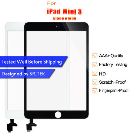 Touch For iPad Mini 3 Touch Screen For iPad Mini3 Digitizer A1599 A1600 Glass Panel Sensor Screen + IC Connector no Home Button