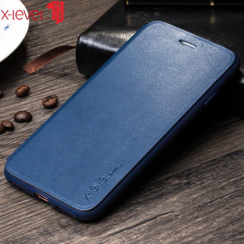 X-Level Flip Leather Case for iPhone 7 Plus Luxury PU Soft 360 Full Protective Silicone Edge Cover Coque for iPhone 7