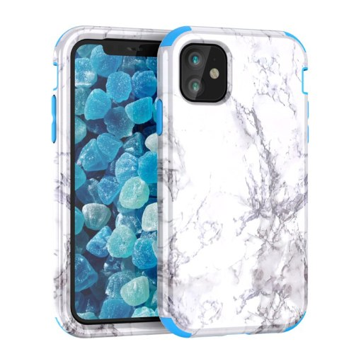 Marble Bumper Case for iPhone 11 pro Max 7 8 6 Plus Hard Cover PC Silicone for iPhone X Xs Max Xr 360 Case Cute Unicorn 3 in 1