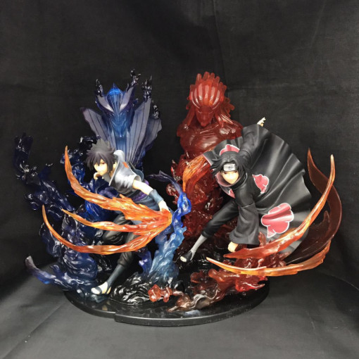 Naruto Itachi Uchiha Sasuke Garage Kits Flame Style Combination version Model Toys