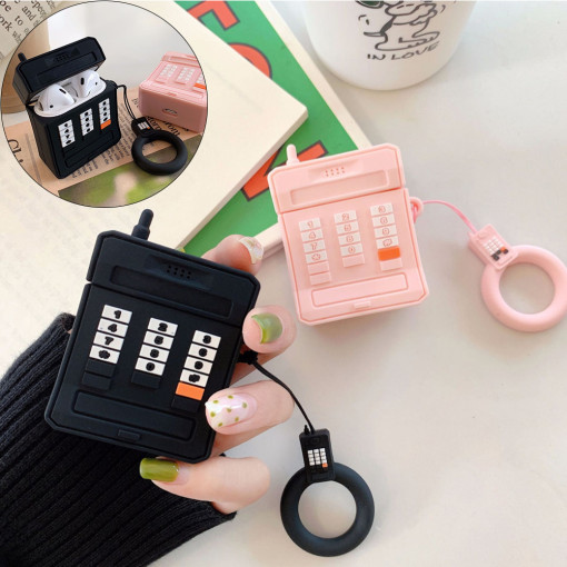 3D retro cellular phone AirPods case silicone ring lanyard Earphone AirPods 1/2 case
