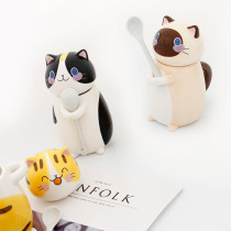 Cute 3D Cat Ceramic Coffee Cup Tea Water Mug With Stirring Spoon