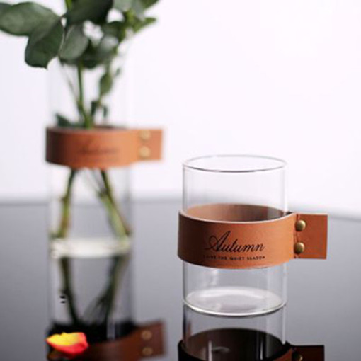 Nordic Style Leather Glass Cup Creative Flower Tea Cup