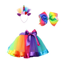 3 in 1 Layered Rainbow Tutu Skirts with Unicorn Headband & Hair Bow for Little Girl