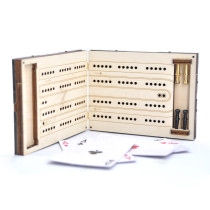 Wooden Folding Cribbage Board - Laser Engraved, Antique Bronze Hardware Corners - with 4 Metal Pegs and PU Leather Case Perfect for Travel Game