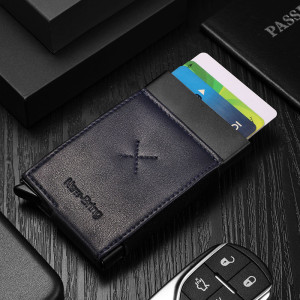 NewBring Auto Pop-Up Aluminium Credit Card Holder Metal RFID Blocking Leather Money Cash Coin Wallet, Blue